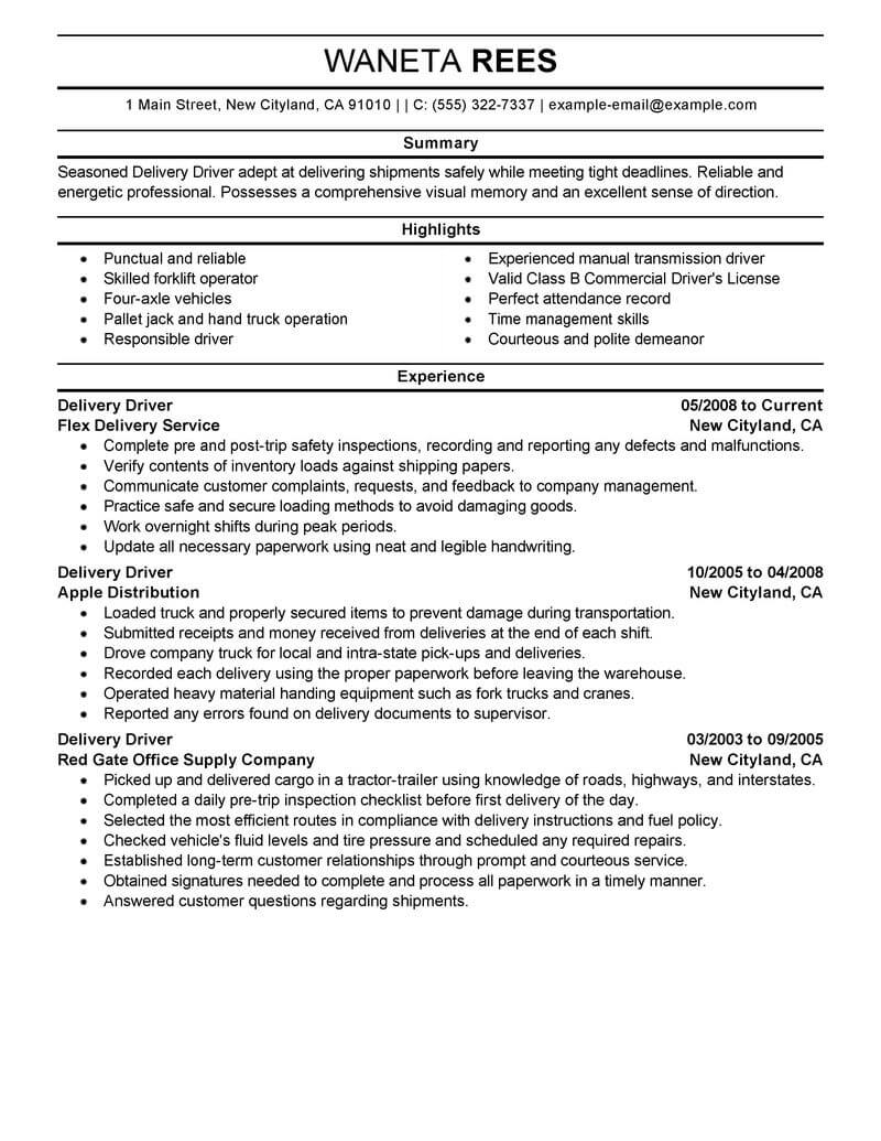 professional delivery driver resume examples driving livecareer truck job description for Resume Truck Driver Job Description For Resume