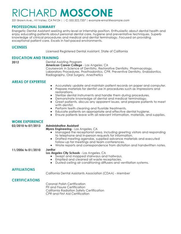 professional dental assistant templates to showcase your talent myperfectresume resume Resume Dental Assistant Resume Examples With No Experience