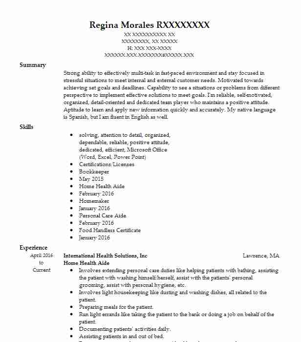 professional home health aide resume examples healthcare support livecareer academic Resume Home Health Aide Resume