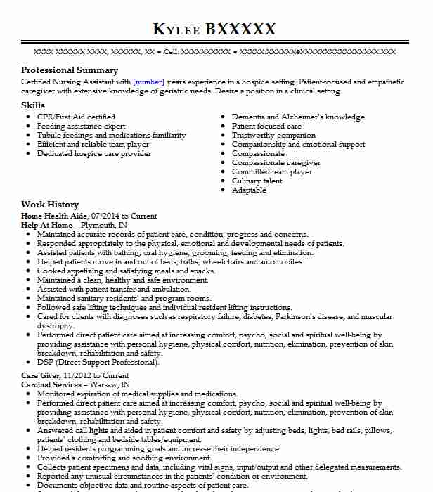 professional home health aide resume examples healthcare support livecareer perfect Resume Home Health Aide Resume