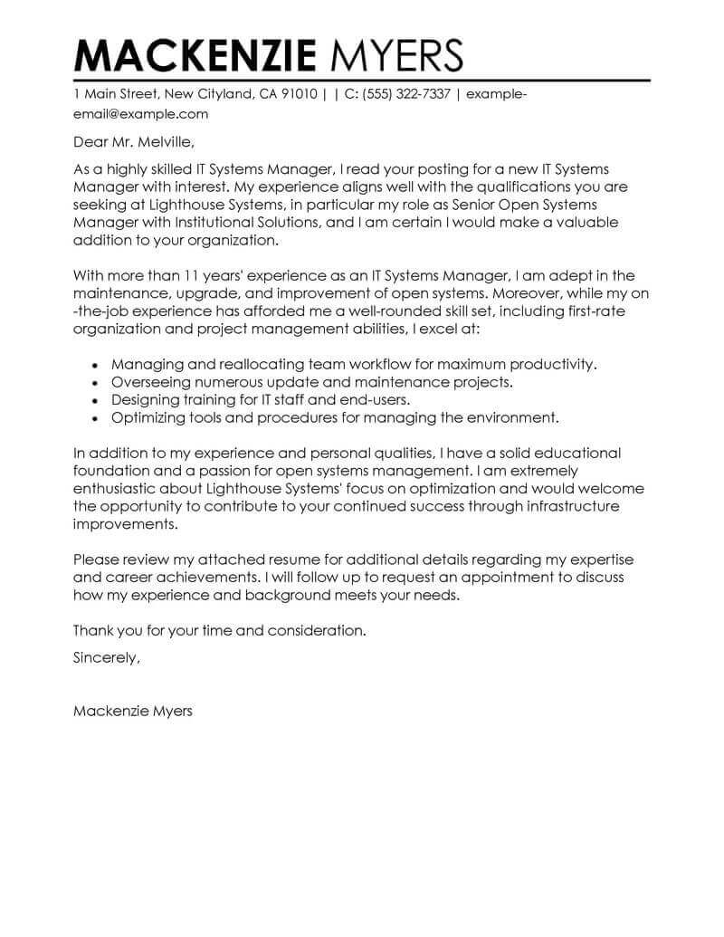 professional information technology cover letter examples livecareer resume it Resume Resume Cover Letter Examples