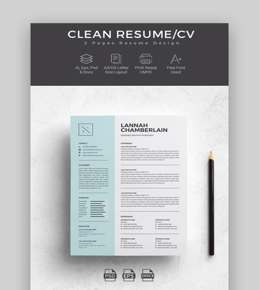 professional ms word resume templates simple cv design formats two template clean for Resume Two Page Resume Template Word