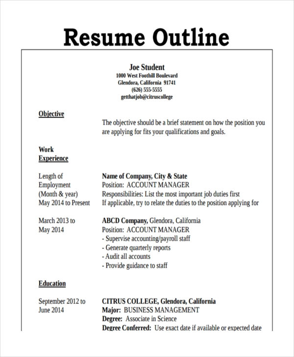 professional outline format resume paper example with work experience google tips Resume Outline Resume Paper Example