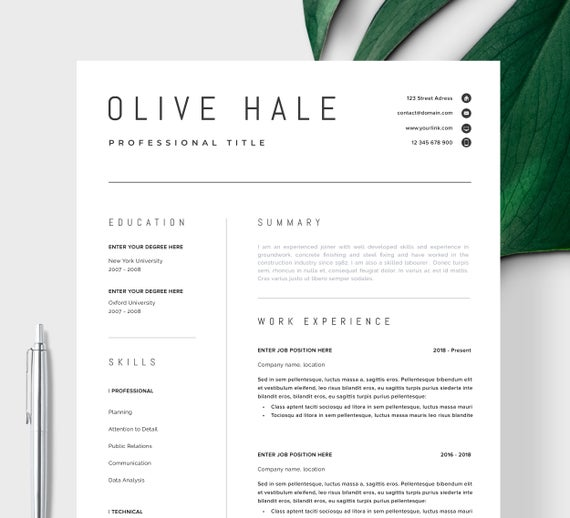 professional resume template clean modern etsy cv il 570xn hyzs sample for coordinator Resume Professional Resume Cv Template