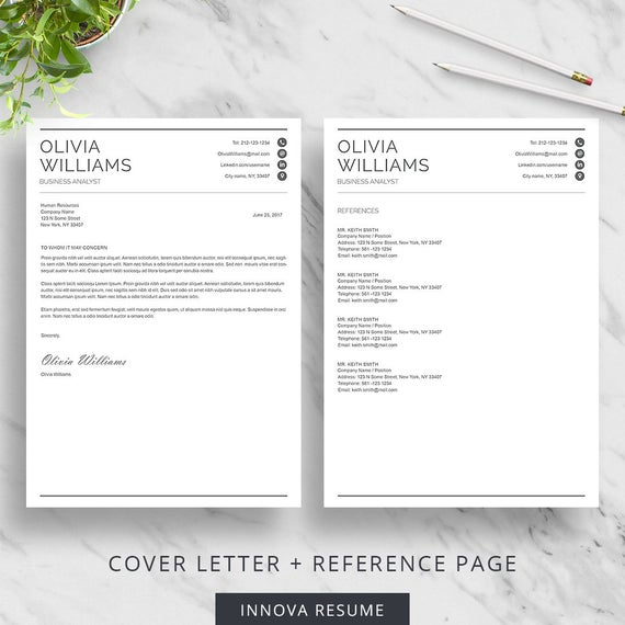 professional resume template with cover letter and reference etsy il 570xn i02a project Resume Resume And Reference Page