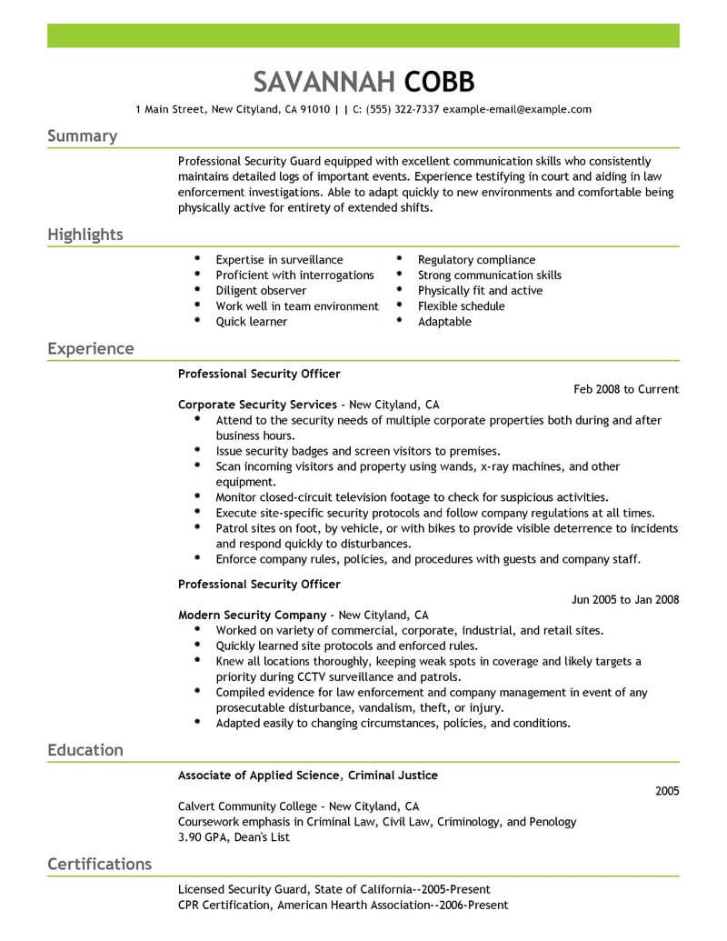 professional security officer resume examples safety livecareer guard sample emergency Resume Security Guard Resume Sample