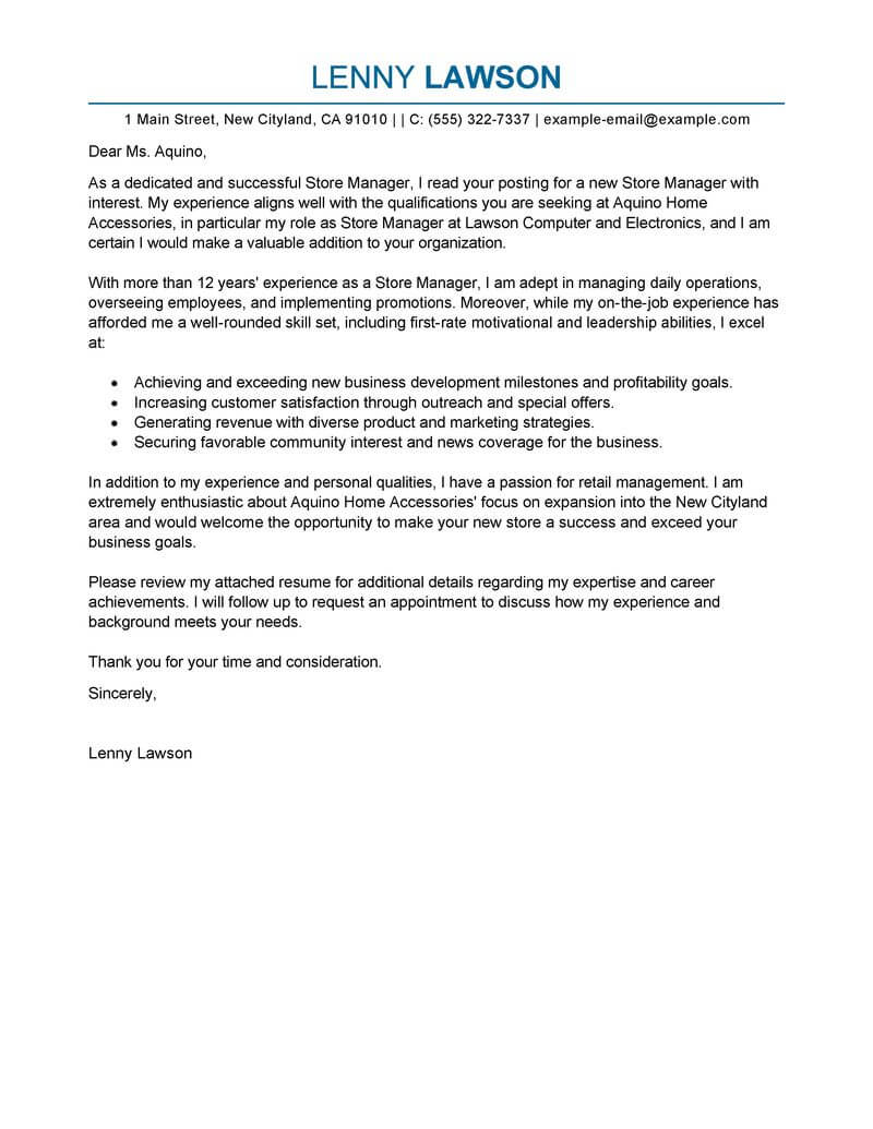 professional store manager cover letter examples livecareer or resume first management Resume Cover Letter Or Resume First