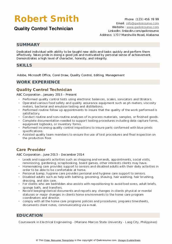 quality control technician resume samples qwikresume warehouse pdf entry level assistant Resume Quality Control Warehouse Resume