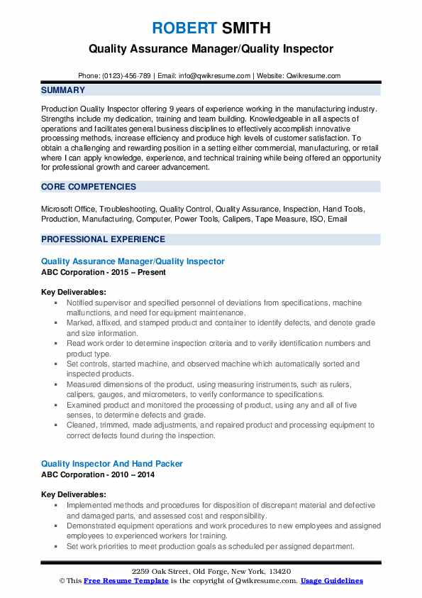 quality inspector resume samples qwikresume control warehouse pdf operations manager Resume Quality Control Warehouse Resume