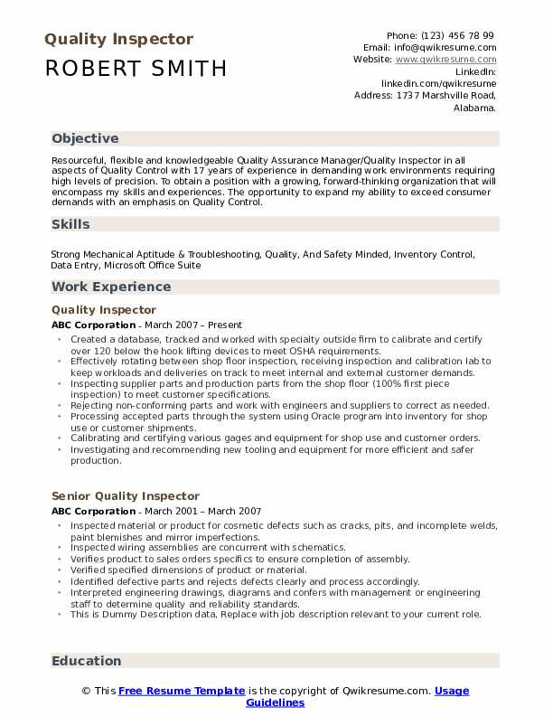 quality inspector resume samples qwikresume control warehouse pdf summary for students Resume Quality Control Warehouse Resume