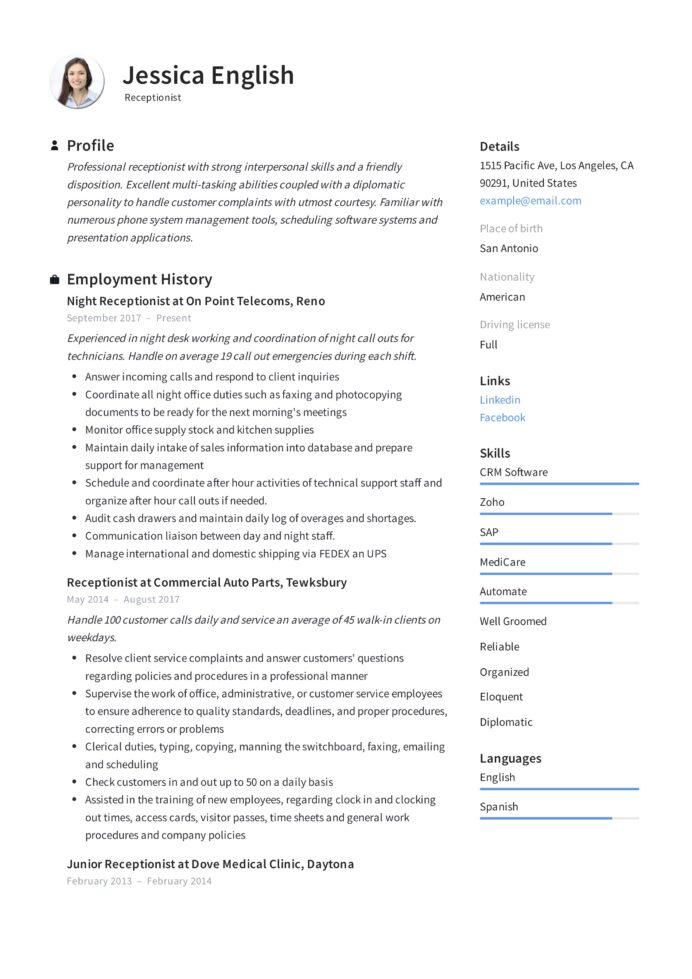receptionist resume example writing guide samples pdf excellent interpersonal skills Resume Excellent Interpersonal Skills Resume