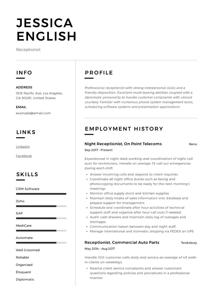 receptionist resume example writing guide samples pdf it resumes examples jessica english Resume It Resumes Examples 2020