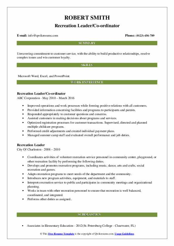 recreation leader resume samples qwikresume sample pdf personal values for construction Resume Personal Values For Resume