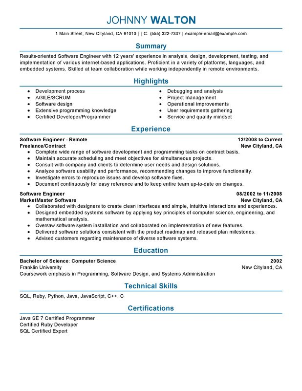 remote software engineer resume examples free to try today myperfectresume engineering Resume Software Engineering Resume Templates