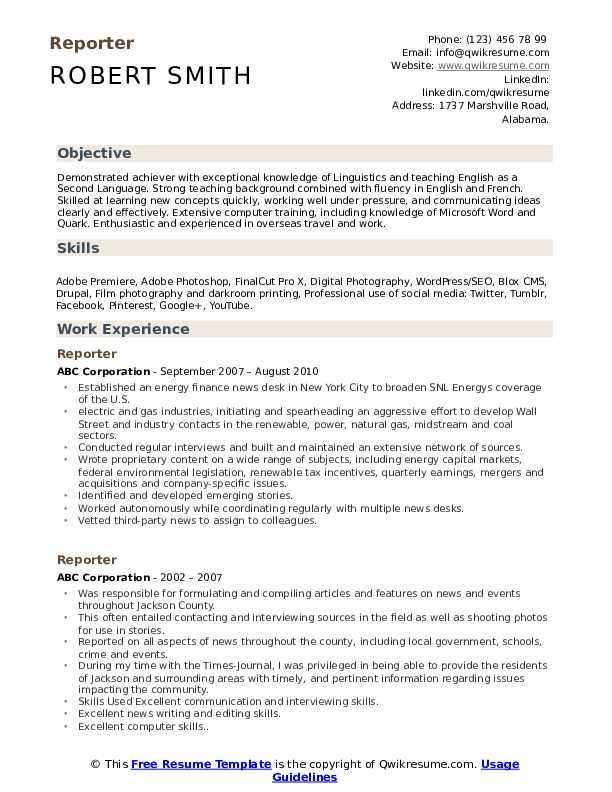 reporter resume samples qwikresume journalist pdf financial operations manager software Resume Journalist Resume Samples