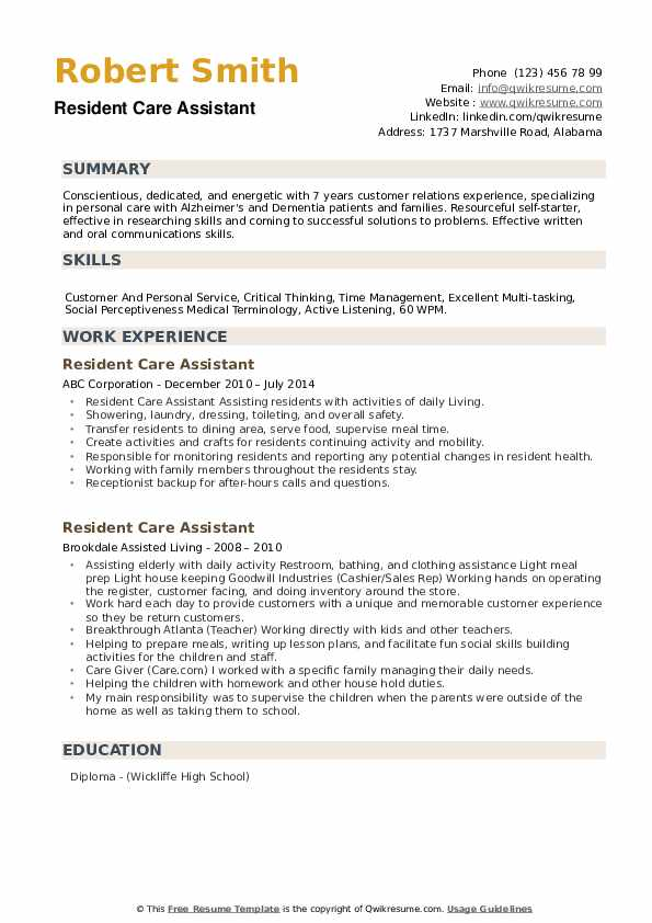 resident care assistant resume samples qwikresume personal pdf unique templates smoothie Resume Talent Inc Resume Writer Salary