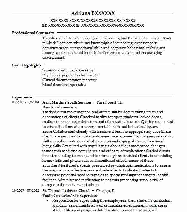 residential counselor examples resumes livecareer resume work template best service Resume Residential Counselor Resume