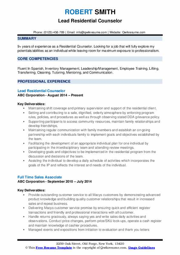 residential counselor resume samples qwikresume pdf ladders guide quality inspector Resume Residential Counselor Resume