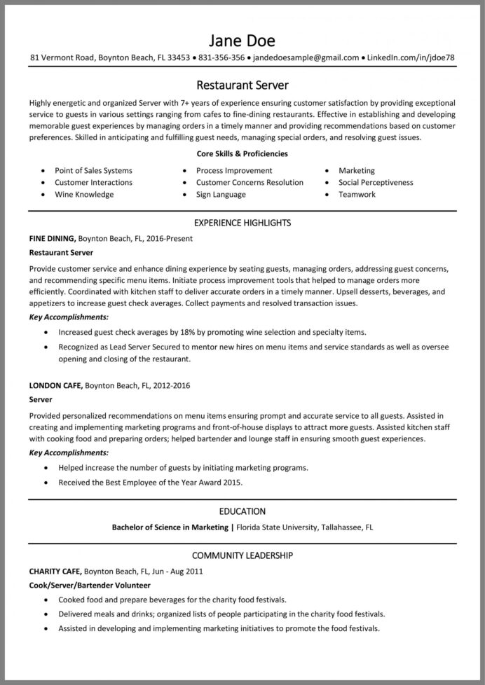 restaurant server resume tips and example duties responsibilities for action words Resume Server Duties And Responsibilities Resume