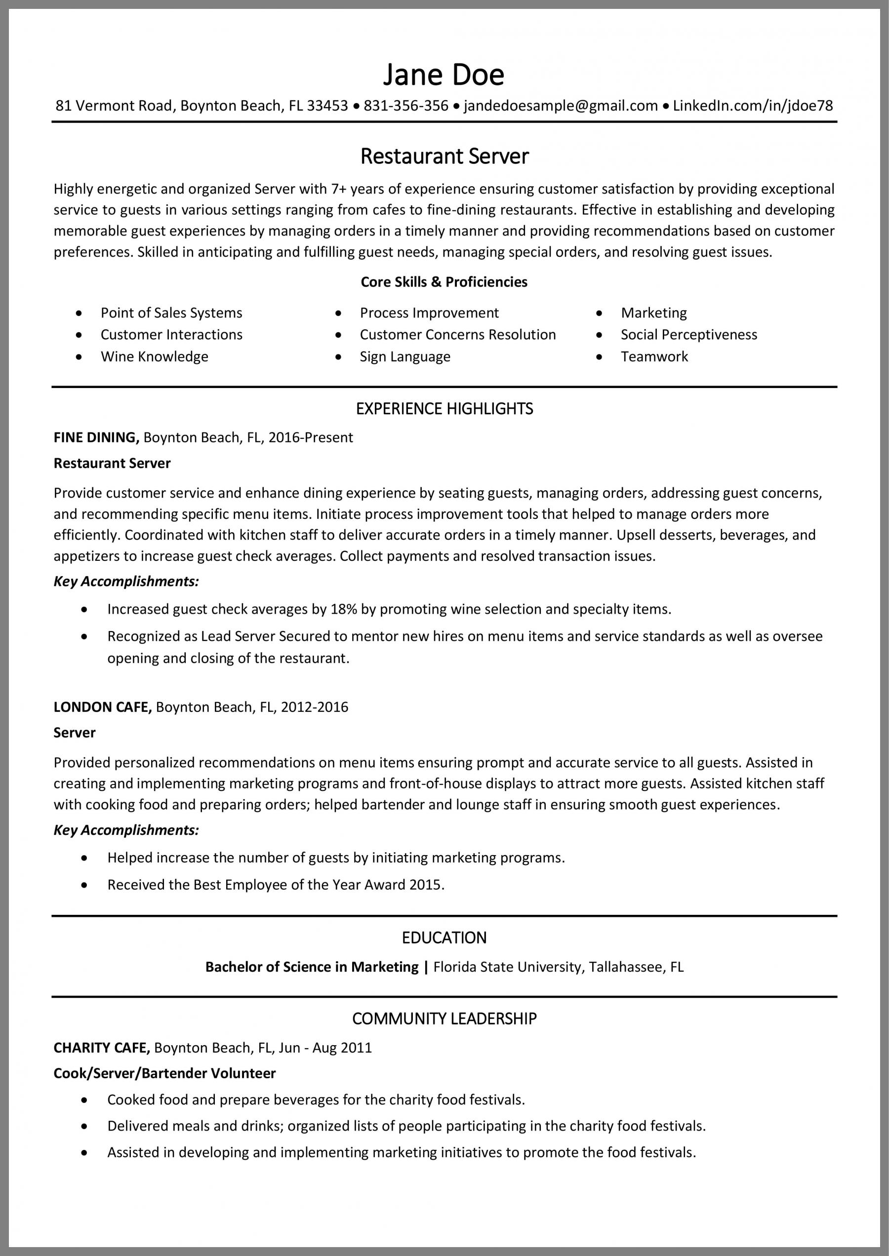 restaurant server resume tips and example fine dining waiter examples Resume Fine Dining Waiter Resume Examples