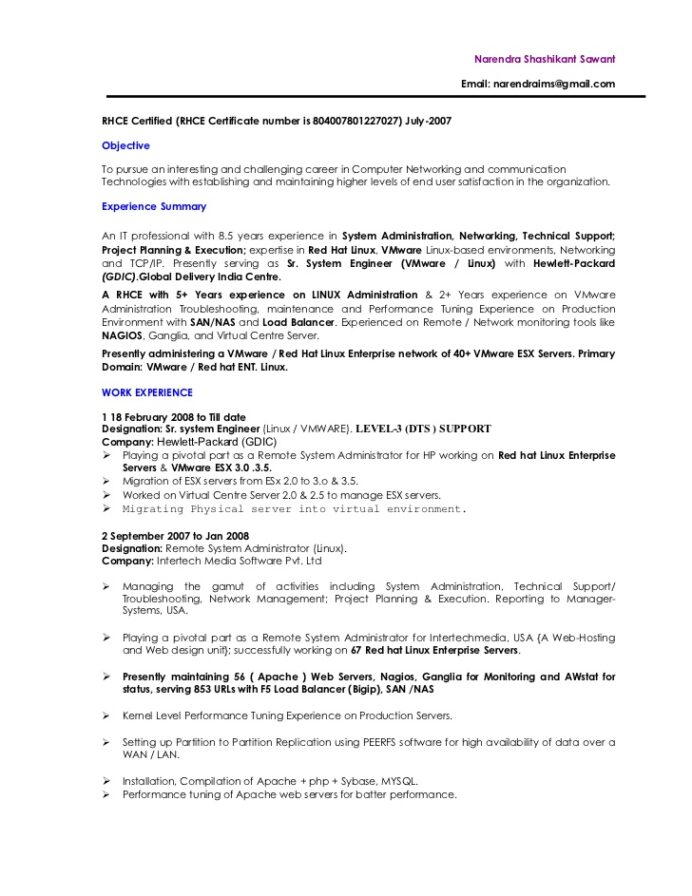 resume biography senior vmware administrator system objective certified surgical Resume Linux Administrator Resume