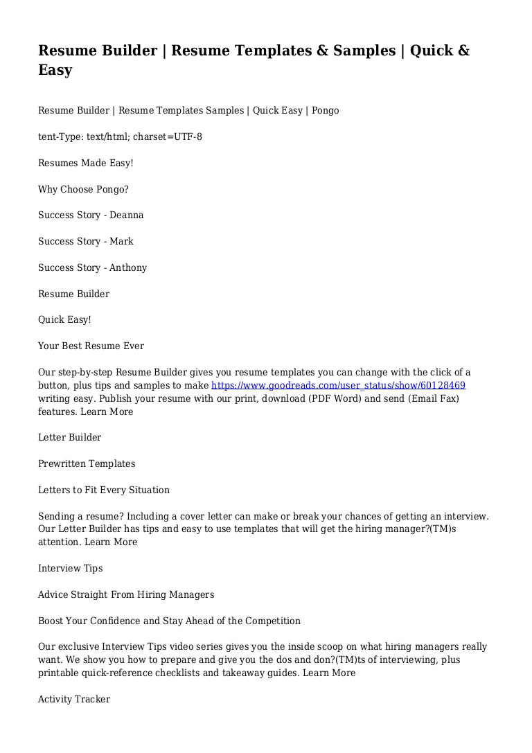 resume builder templates samples quick easy and conversion gate01 thumbnail vot profile Resume Quick And Easy Resume Builder