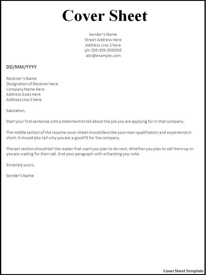 resume cover letter template for sheet career objective electronics engineer tamil Resume Cover Sheet For Resume