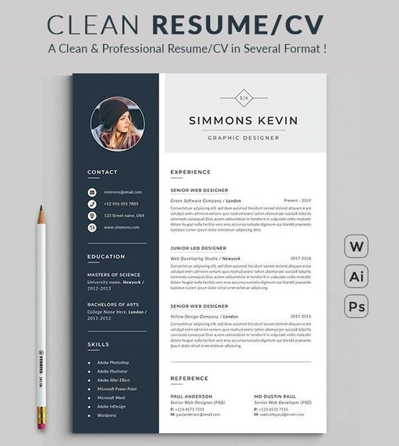 resume design template modern word free etsy microsoft graphic current trends sample of Resume Free Graphic Design Resume Template Word