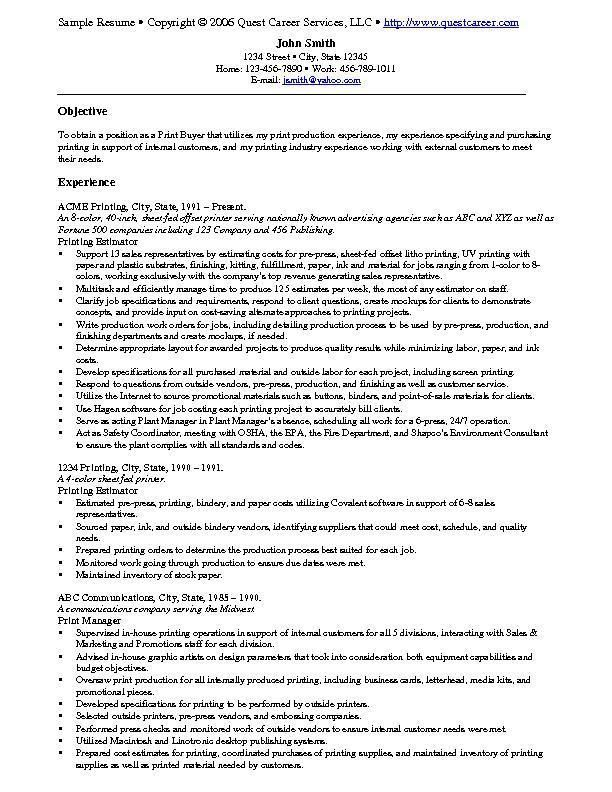 resume example examples free samples sample print production tucson vb6 nice font for Resume Print Production Resume Examples