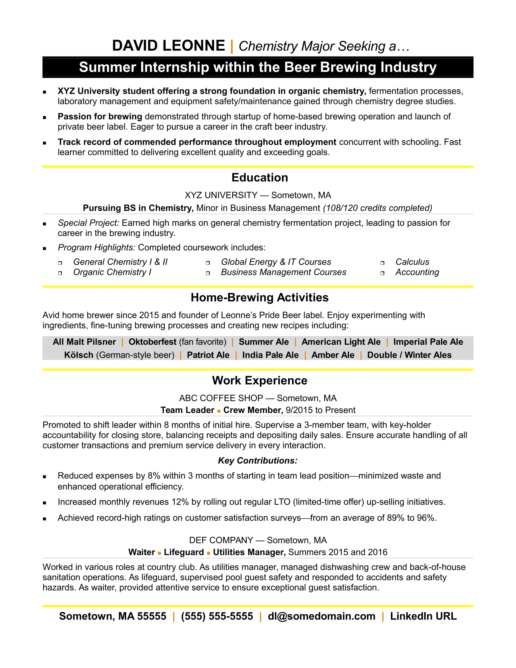 resume for internship monster summer doula example of software engineer cruise ship Resume Resume For Summer Internship