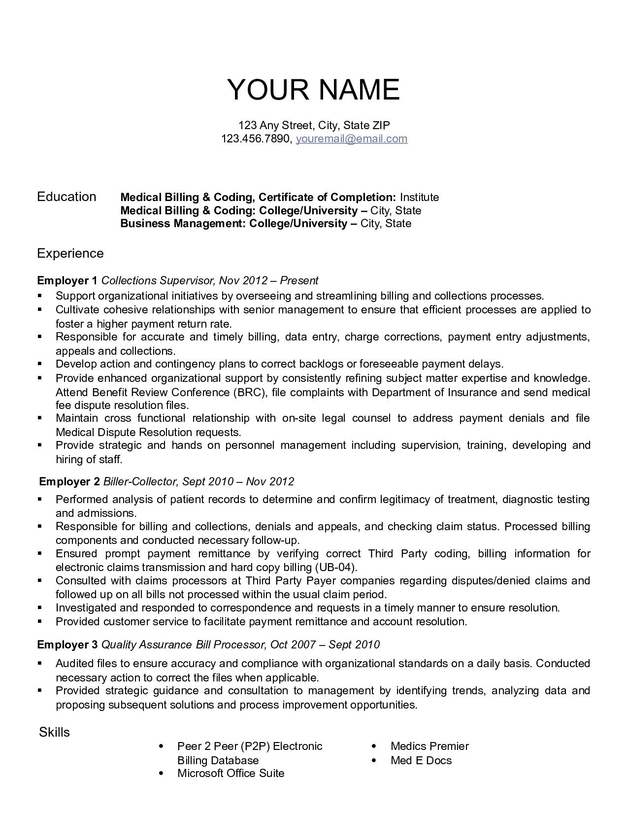 resume for medical billing and coding websites that help with homework licensed attorney Resume Billing And Coding Resume