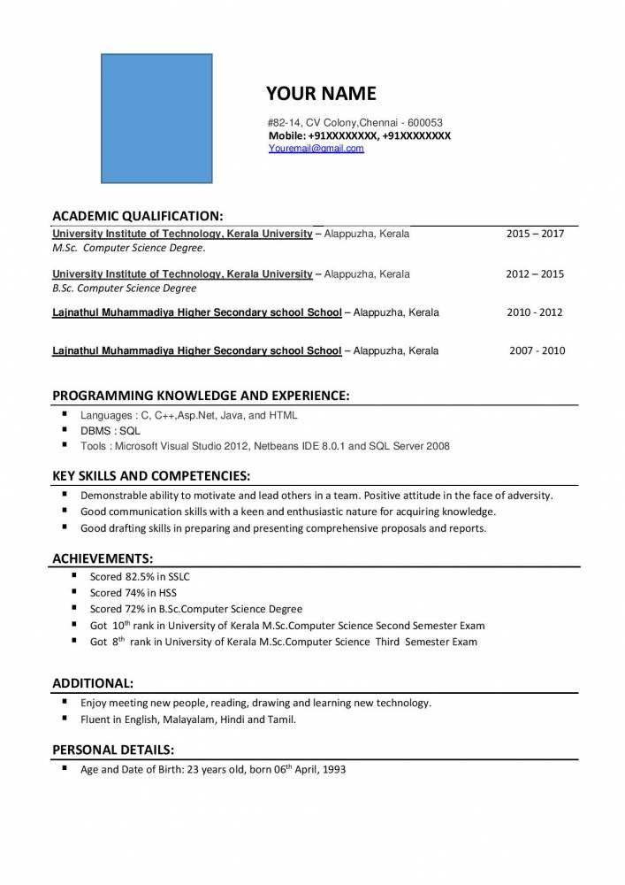 resume format for sc computer science freshers free samples projects now frsher jsfirm Resume Bba Resume For Freshers