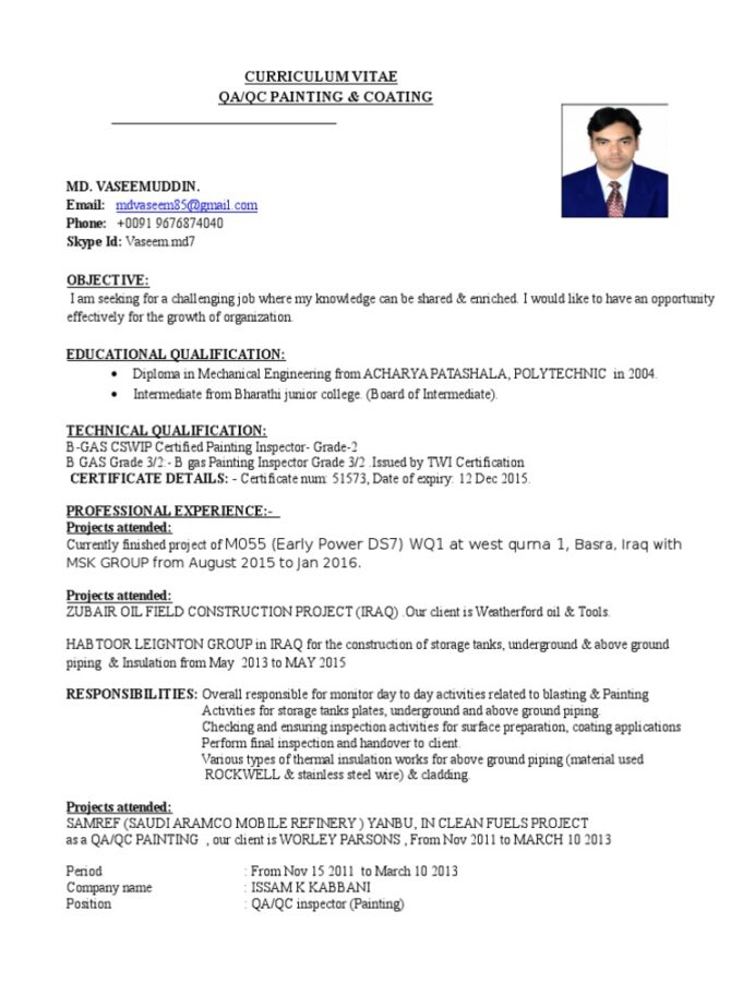 resume lil durk coating inspector software engineering manager objective for print sample Resume Coating Inspector Resume