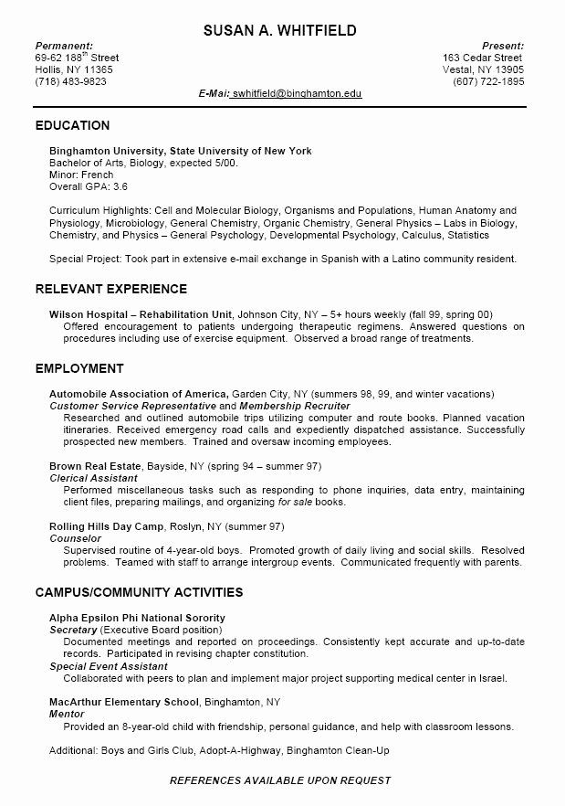 resume objective examples for college students beautiful format high school template Resume College Recruiter Resume Objective Examples