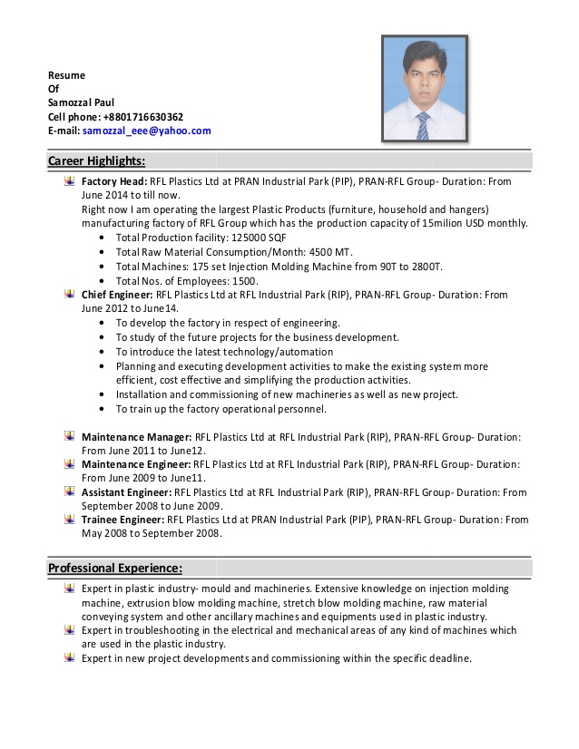 resume of paul injection molding photography for beginners good profile actually free Resume Injection Molding Resume