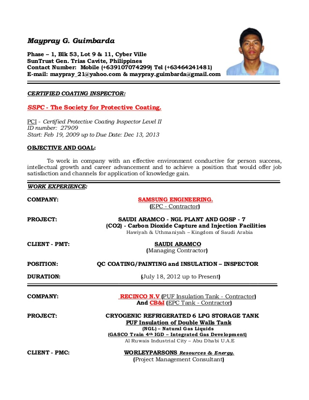 resume of qaqc inspector coating painting and insulation coatingpainting objective Resume Coating Inspector Resume
