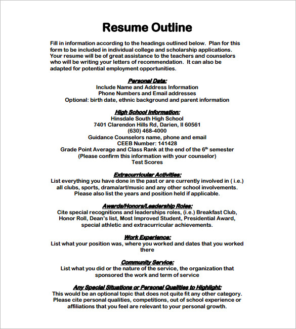 resume outline examples business form letter template paper example pdf sample nsfvth Resume Outline Resume Paper Example