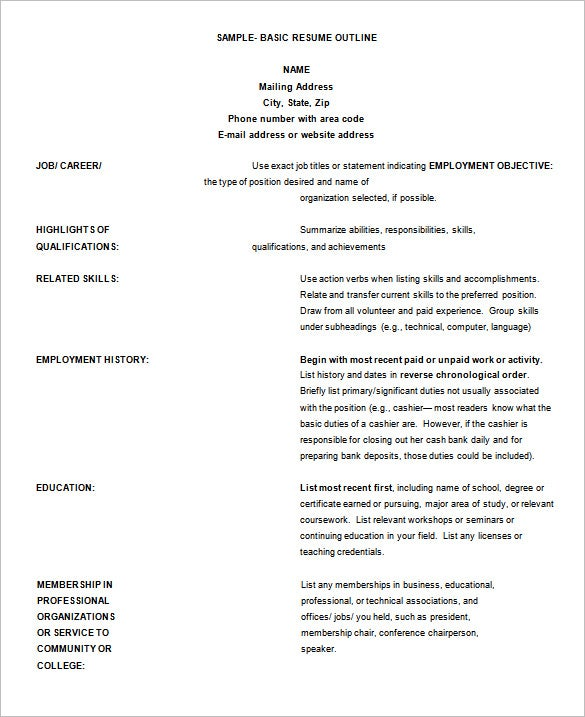 resume outline templates samples pdf free premium paper example sample basic template Resume Outline Resume Paper Example