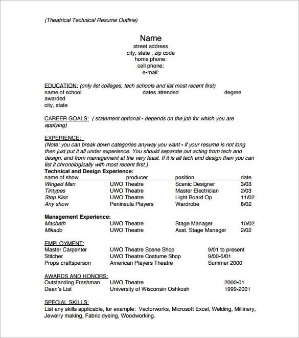 resume outline templates samples pdf free premium paper example sample theatrical Resume Outline Resume Paper Example