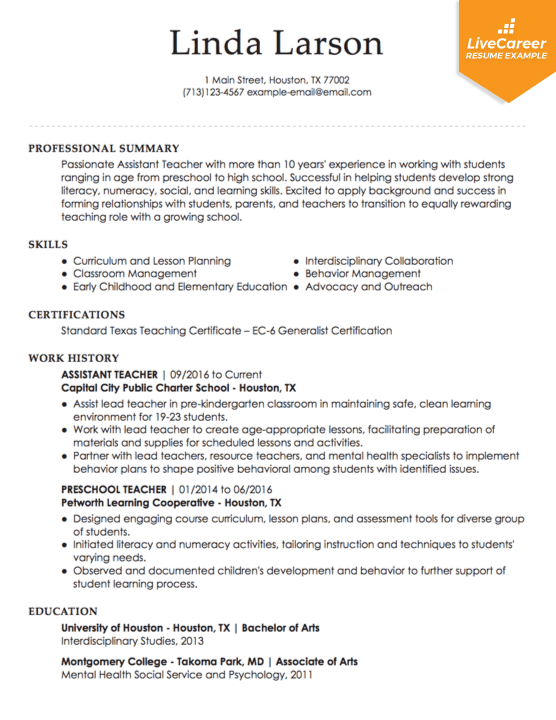 resume professional teacher examples teaching livecareer intended for templatess Resume Professional Teacher Resume