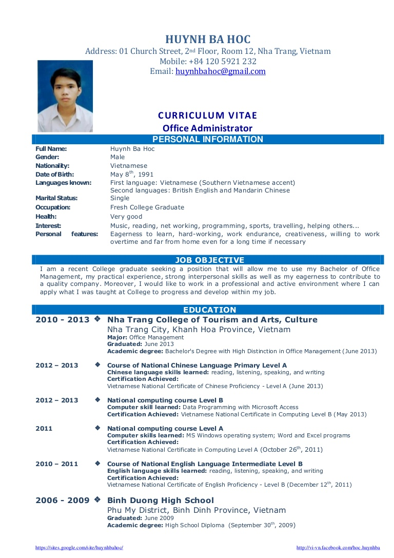 resume sample for fresh graduate business administration cv template work experience Resume Sample Resume Objective For Tourism Students