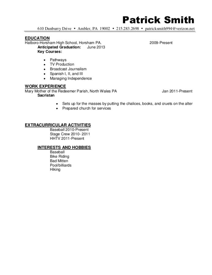 resume sample pat anticipated graduation date on examples resumesamplepatsmith phpapp02 Resume Expected Graduation On Resume