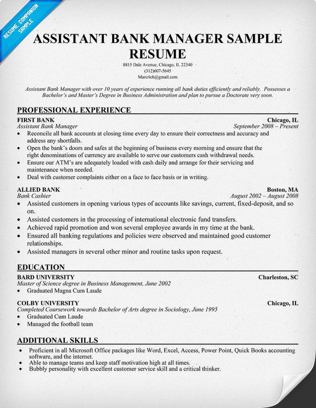 resume samples and to write companion manager examples job bank sample executive Resume Bank Manager Resume Sample