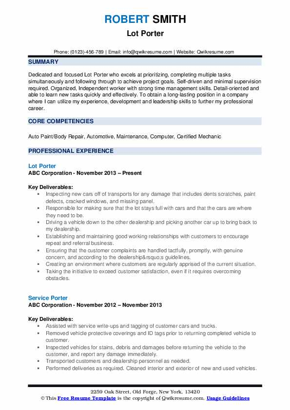 resume samples qwikresume sample for pdf mba admission examples employment high school Resume Sample Resume For A Porter