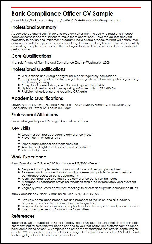 resume skills for engineers honors college compliance officer summary free builder Resume Compliance Officer Resume Template