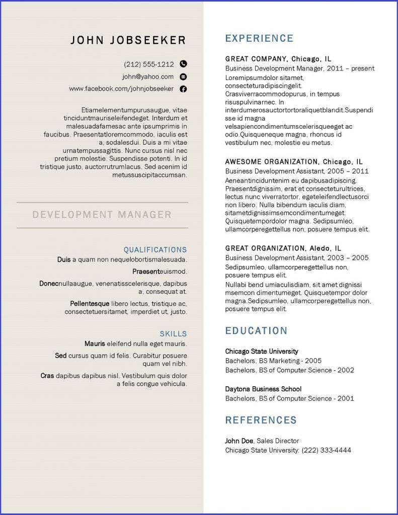 resume template downloads professional examples free commercial lines account manager Resume Canadian Resume Template Download