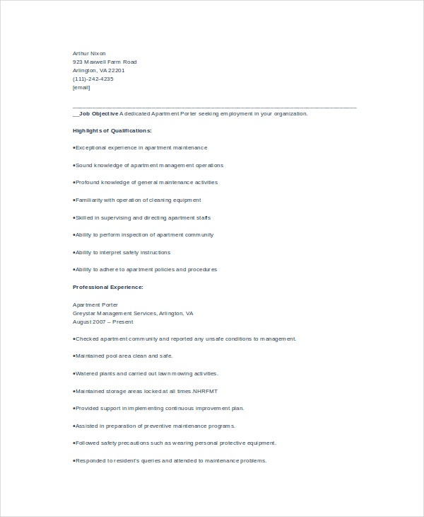 resume template free word pdf documents premium templates sample for apartment order Resume Sample Resume For A Porter