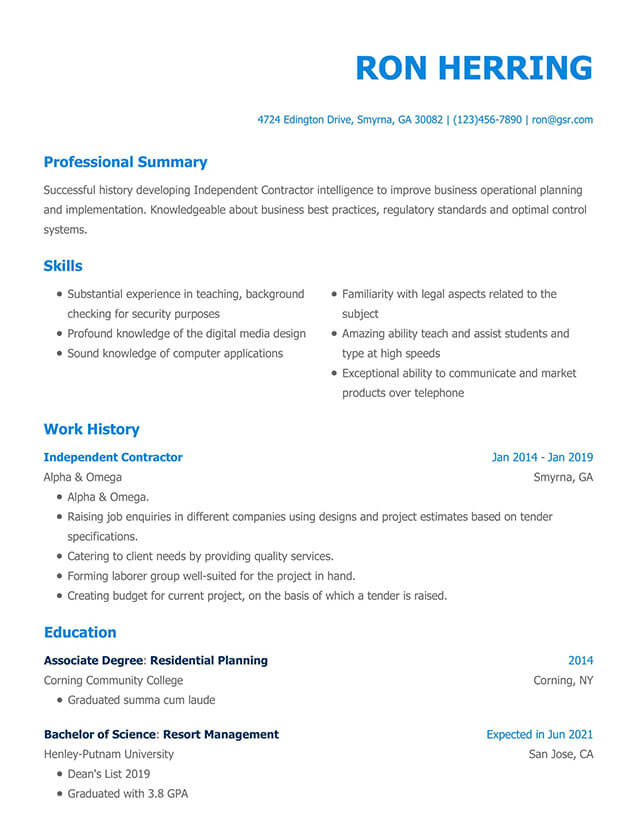 resume templates edit in minutes two column template modern blue active directory points Resume Two Column Resume Template