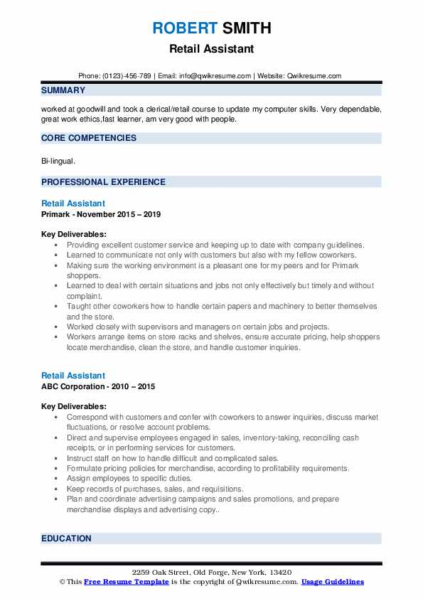 retail assistant resume samples qwikresume template pdf bullet point format executive ceo Resume Retail Assistant Resume Template