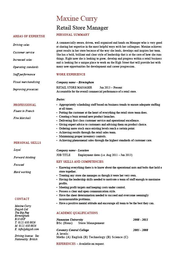 retail store manager resume job description sample example template marketing stock Resume Retail Manager Responsibilities For Resume